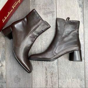 NIB! FERRAGAMO Leather Brown Anatolia Boots NARROW